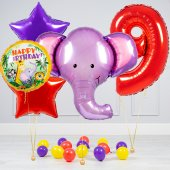 """Hēlija balonu pušķis """"Dzimšanas dienas Zilonis"""""""