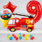 """Hēlija balonu pušķis """"Dzimšanas dienas Ugunsdzēsēji"""""""