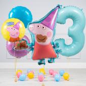 """Hēlija balonu pušķis """"Dzimšanas dienas Peppa pig"""""""