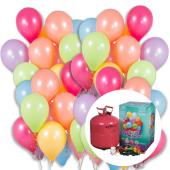 Vienreizējais hēlija balons ar 50 lateksa baloniem