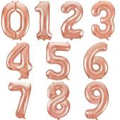 Balons cipars Rožu zelta 86 cm
