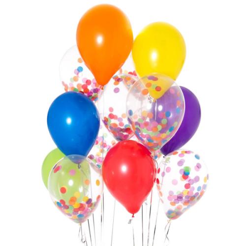 Iepakojums ar 14 spilgtiem varavīksnes konfeti baloniem