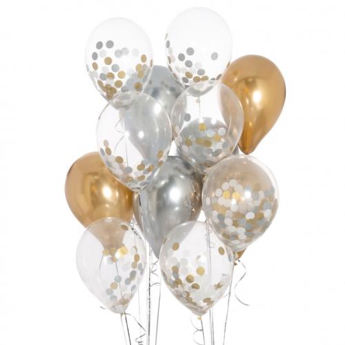 Iepakojums ar 14 zelta un sudraba konfeti baloniem
