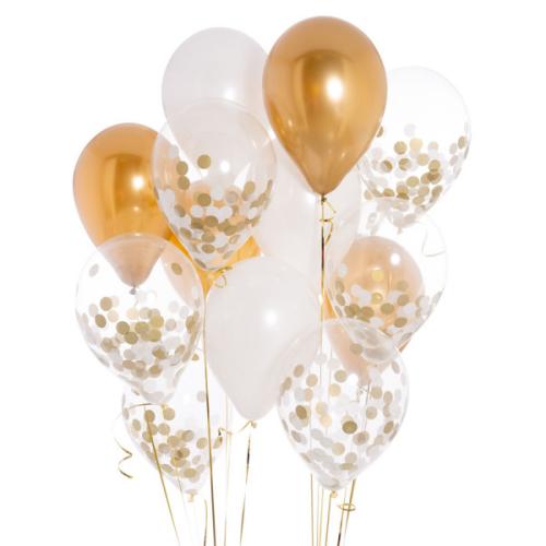 Iepakojums ar 14 zelta un baltiem konfeti baloniem