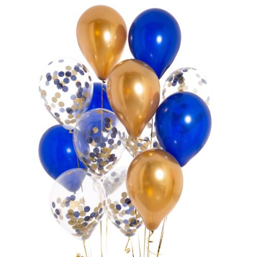 Iepakojums ar 14 pusnakts zilā konfeti baloniem