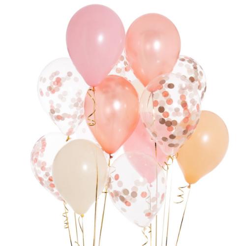 Iepakojums ar 14 rožu zelta konfeti baloniem