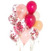 Iepakojums ar 14 ogu rozā konfeti baloniem