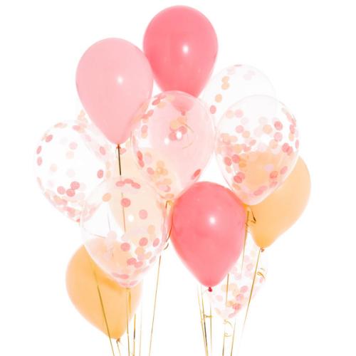 Iepakojums ar 14 persiku rozā konfeti baloniem