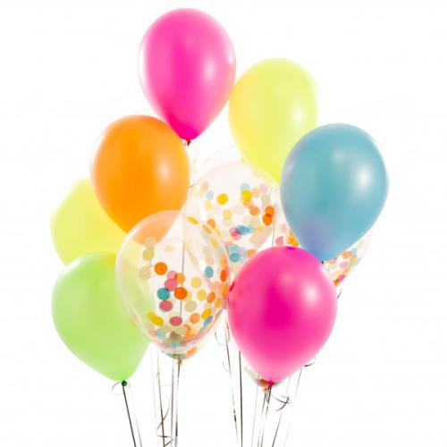 Iepakojums ar 14 neona konfeti baloniem