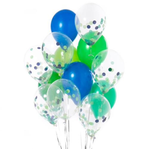Iepakojums ar 14 dinozauru ballītes konfeti baloniem