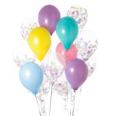 Iepakojums ar 14 vienradža konfeti baloniem