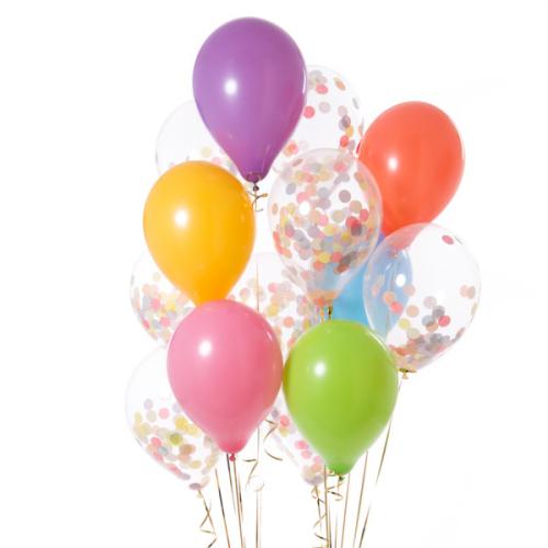 Iepakojums ar 14 pastel varavīksnes konfeti baloniem