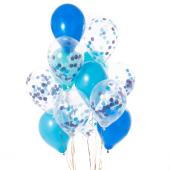 Iepakojums ar 14 pāva zilā konfeti baloniem