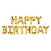 Foil Balloon Happy Birthday, 340x35cm, gold