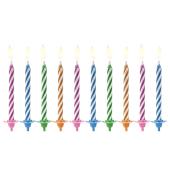 Birthday candles Magic, mix, 6cm (1 pkt / 10 pc.)
