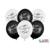 Balloons 30cm, Happy Birthday, Pastel Mix (1 pkt / 6 pc.)