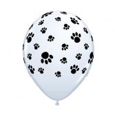 Apdrukāts lateksa balons PAW PRINTS, white pastel (30 cm)