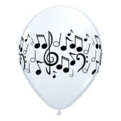 Apdrukāts lateksa balons  Music printing, pastel white (30 cm)