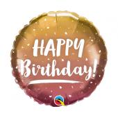 45 cm Folija balons Happy Birthday, rose gold ombre