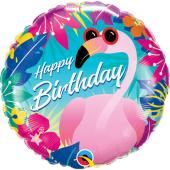 45 cm Folija balons HRT Happy Birthday - Flamingo