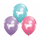 Apdrukāts lateksa balons Whimsical Unicorn (30 cm)