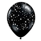 Apdrukāts lateksa balons Stars, pastel-black (30 cm)