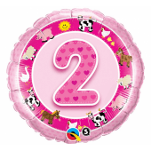 "45 cm Folija balons 2 of pictures, pink """