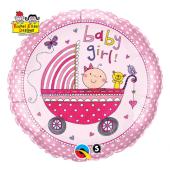 45 cm Folija balons Baby Girl (pink stroller)