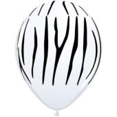 Apdrukāts lateksa balons  Zebra - stripes, pastel white (30 cm)