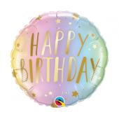 45 cm Folija balons Happy Birthday, pastel ombre