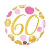 45 cm Folija balons CIR 60 Birthday, rose-gold dots