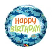 45 cm Folija balons Birthday Fun Sharks