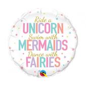 45 cm Folija balons Unicorn, Mermaids, Fairies