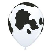 Apdrukāts lateksa balons  Cow, pastel white  (30 cm)