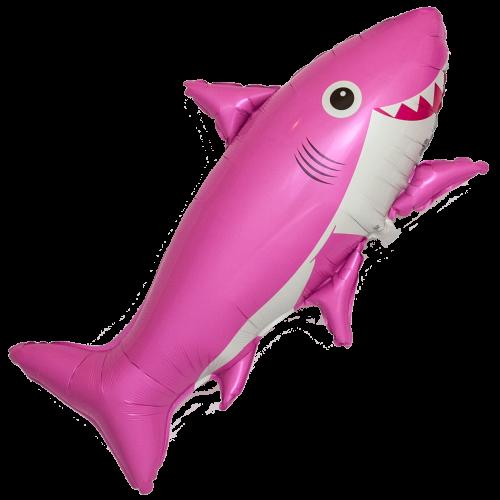 Шар (39''/99 см) Фигура, Счастливая акула, Розовый, 1 шт.