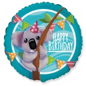 Balons (18''/46 cm) aplis, Happy Birthday koala1  gb