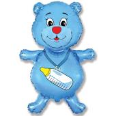 Шар (37''/94 см) Фигура, Медвежонок-мальчик, Голубой, 1 шт.