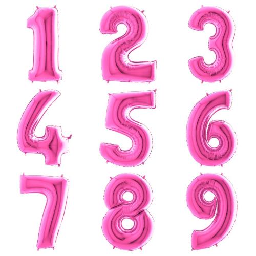 Balons cipars (fuksijas) rozā 86 CM
