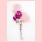 Balonu Kompozīcija 18 Ekskluzīvi Rozā Fuksijas Sudraba krāsa 170x50 cm