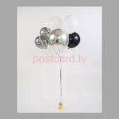 Balonu Kompozīcija 8 Ekskluzīvi Balta Sudraba Melna krāsa 160x50 cm