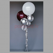 Balonu Kompozīcija 2 Ekskluzīvi Bordo Sudraba Balta krāsa 160x50 cm