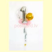 Balonu Kompozīcija 13 Ekskluzīvi Zelta Sudraba Rozā krāsa 150x50 cm