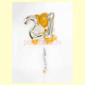 Balonu Kompozīcija 15 Ekskluzīvi Sudraba Zelta krāsa 160x50 cm