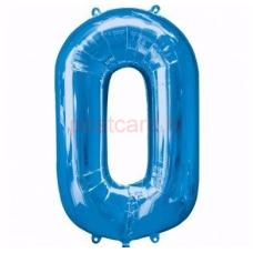 Folijas balons Cipars 0  Zila krāsa 86 cm