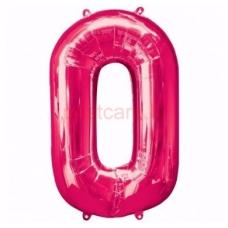 Folijas balons  Cipars 0  Rozā krāsa  86 cm