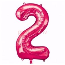 Folijas balons  Cipars 2 Rozā krāsa  86 cm