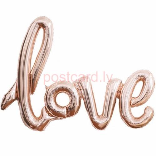 Folijas balonu vārds Love Rožu zelta krāsa 102 cm