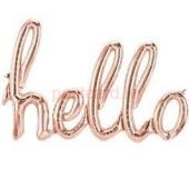 Folijas balonu vārds Hello Rožu zelta krāsa 114 cm