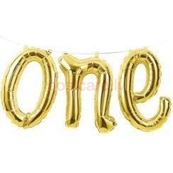 Folijas balonu vārds One Gaiši zelta krāsa 30 x 1.5 m