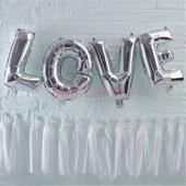 Folijas balonu kompozīcija Love Sudraba krāsa 31 cm